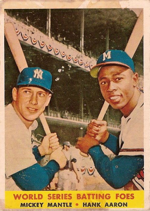 Card Of The Day 1958 Topps World Series Batting Foes Mickey Mantle