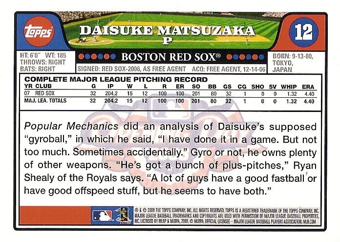 Card Of The Day 2008 Topps Opening Day Daisuke Matsuzaka