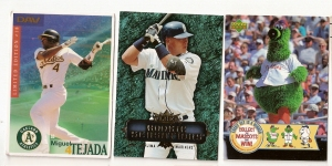 Tejada 2003 Disabled American Veterans card, Johjima 06 Fleer Rookie Sensation, 06 Upper Deck Phillies Mascot card