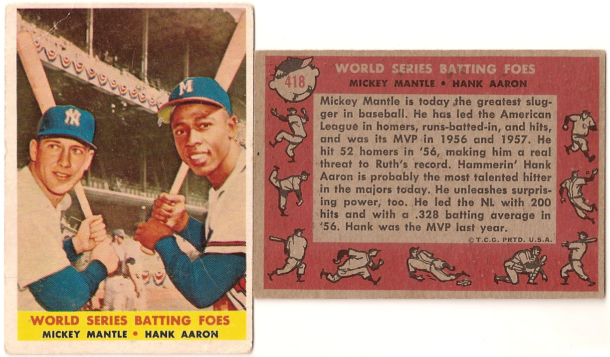 Getting Down To The Wire Win Your 1958 Topps Mantle Aaron Card Now